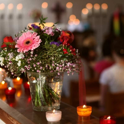 Flower Display At A Funeral