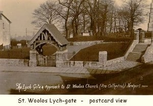 St Woolos Lych-gate postcard with caption